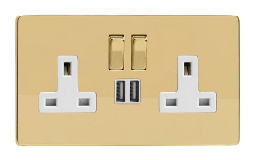 Varilight XDV5U2SWS Screwless Polished Brass 2 Gang Double 13A Switched Plug Socket 2.1A USB